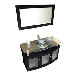 """Fresca - Fresca Contento Modern Bathroom Vanity w/ Tempered Glass Sink, 48"""" - The Fresca Contento Modern 48"""" Bathroom Vanity with Tempered Glass Sink is a conversation piece for fans of the modern aesthetic. The distinctive shape of this solid oak wood vanity frame has a dark espresso finish and integrates a stunning clear tempered glass sink with a clear tempered glass countertop that's suspended above the cabinetry. The decorative rods elevating the countertop repeat design-wise as cabinet legs. Spacious interior storage is hidden behind cabinet doors with frosted inset panels; cabinet hardware combines oak and brushed nickel."""