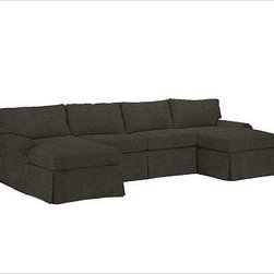 """PB Basic 3-Piece U-Shaped Sectional Slipcover, Velvet Dark Heather Gray - Designed exclusively for our PB Basic Sectional, these easy-care slipcovers have a casual drape, retain their smooth fit, and remove easily for cleaning. Select """"Living Room"""" in our {{link path='http://potterybarn.icovia.com/icovia.aspx' class='popup' width='900' height='700'}}Room Planner{{/link}} to select a configuration that's ideal for your space. This item can also be customized with your choice of over {{link path='pages/popups/fab_leather_popup.html' class='popup' width='720' height='800'}}80 custom fabrics and colors{{/link}}. For details and pricing on custom fabrics, please call us at 1.800.840.3658 or click Live Help. All slipcover fabrics are hand selected for softness, quality and durability. {{link path='pages/popups/sectionalsheet.html' class='popup' width='720' height='800'}}Left-arm or right-arm configuration{{/link}} is determined by the location of the arm on the love seat as you face the piece. This is a special-order item and ships directly from the manufacturer. To view our order and return policy, click on the Shipping Info tab above."""