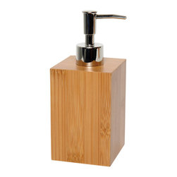 Bamboo Ecobio Soap Dispenser - This elegant soap dispenser Ecobio for bathrooms is in Bamboo and adds a natural look and feel to your decor. This square shape soap dispenser is a lovely accent for any bathroom and features a length of 2.83-Inch, a width of 2.83-Inch and a height of 7.09-Inch. The chrome-plated top unscrews for refilling with soap or lotion. Wipe clean with soapy water. Color bamboo. Accessorize your bathroom countertop in a trendy style with this charming soap dispenser! Complete your decoration Ecobio with other products of the same collection. Imported.