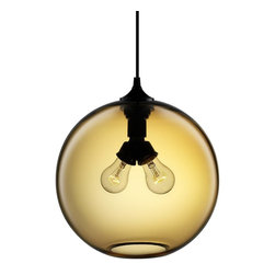 Niche Modern - Binary Modern Pendant - A glass globe fitted with a pair of bulbs — what a delightful way to illuminate your favorite setting. The look of the fixture and effect of the light are both modern and timeless.