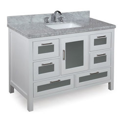 Kitchen Bath Collection - Manhattan 48-in Bath Vanity (Carrara/White) - This bathroom vanity set by Kitchen Bath Collection includes a white cabinet with tempered glass windows, soft close drawers and self-closing door hinges, double-thick Italian Carrara marble countertop (an incredible 1.5 inches at the edge!), single undermount ceramic sink, pop-up drain, and P-trap. Order now and we will include the pictured three-hole faucet and a matching backsplash as a free gift! All vanities come fully assembled by the manufacturer, with countertop & sink pre-installed.