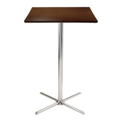 Winsome Trading, INC. - Winsome Wood 93534 Kallie Square Pub Table with X Base - Kallie square pub table is perfect additional for your kitchen or game room. Table top size is 23.62w by 23.62-inch d. Laminated table top in cappuccino finish with chrome leg and base. Assembly required
