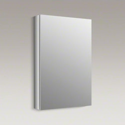"KOHLER - KOHLER Verdera(TM) 20"" W x 30"" H aluminum medicine cabinet - The Verdera medicine cabinet combines an elegant fit and finish with quick, easy installation. The door and interior are fully mirrored, and three adjustable glass shelves offer flexible storage of toiletries."
