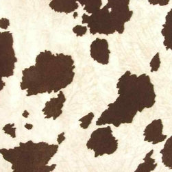 Faux Cowhide Fabric for Upholstery - Brown, White - This great Southwestern themed faux suede cow print features a brown and white patch coloration. It has a very soft feel and is great for your rustic projects with a western theme.