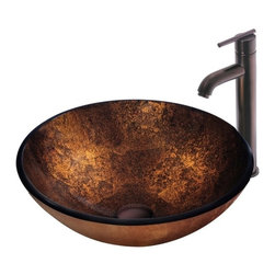 Vigo Industries - Russet Glass Vessel Sink & Faucet Set - Create a new look in your bathroom with this ultra-chic Copper Mosaic Vigo glass vessel sink and faucet set. Durability, design and style put this set on another level. This Copper Mosaic Vigo sink is a masterpiece of its own. Style, quality and attractiveness set this sink in a league of its own.