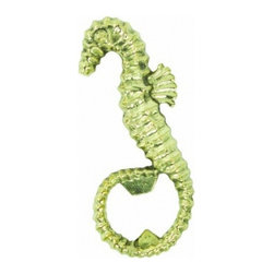 Handcrafted Nautical Decor - Solid Brass Seahorse Bottle Opener 4'' - The Solid Brass Seahorse Bottle Opener 4''  is the perfect addition to any beach theme kitchen. This solid brass  bottle opener will open even the most     difficult of bottles with  ease. This bottle opener is fully functional    and display a brass sea horse  to compliment existing sea life decor in your home. ----    Handcrafted from solid brass by our master artisans --    --    Nautical bottle opener can also be mounted to any wall--    --    Wonderful seahorse decoration--