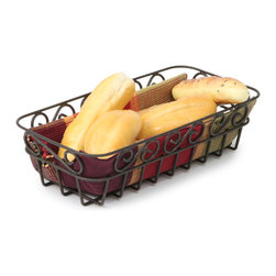 Spectrum Diversified Designs - Scroll Bread Basket - Bronze - The decorative Scroll Bread Basket makes a nice serving piece to any kitchen table or restaurant. This basket is ideal for holding and serving bread, rolls and muffins. Made of sturdy steel, the beautiful scroll design will add a traditional touch to your home.