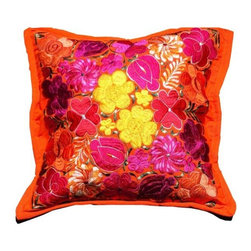 Guatemalan Artisans - Guatemalan Orange Floral Pillow - Bask in a vibrant palette shaped by sun-drenched surroundings and an artful incorporation of Guatemala's celebrated crafts and handiwork.