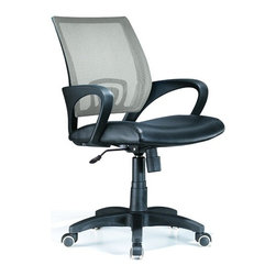 Lumisource - Officer Office Chair Silver - Every office chair should be this comfortable. Our officer design features a mesh back in silver complemented by a lumbar inset. Loop arms are composite with seating in black leatherette. From morning to quitting time, this is a full-featured seating choice. Work in comfort with this contemporary office chair. The Officer chair features a leatherette seat and colorful mesh back, lumbar support, 360 degree swivel, caster wheels for mobility, and adjustable tilt and tension, and armrests. Seat adjusts from 18 to 22 inches. 23 in. W x 19 in. D x 40 in. H