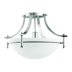 KICHLER - KICHLER Olympia Transitional Semi-Flush Mount Ceiling Light X-PA8763 - From the Olympia Collection, this Kichler Lighting semi flush mount ceiling light feature gentle sweeping curves that are highlighted by an Antique Pewter finish and coordinating satin etched white glass shade.