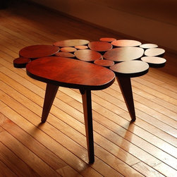 Small Circles Coffee Table by michaelarras - This charming original coffee table is hand made by Micheal Arras. It has all the charm of a mid-century modern piece, yet is a unique contemporary assemblage of shapes.