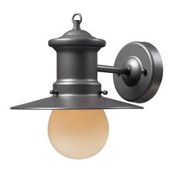 Elk Lighting - Elk Lighting 42405/1 1- Light Outdoor Sconce in Graphite - 1- Light Outdoor Sconce in Graphite belongs to Maritime Collection by Elk Lighting Whether You Live By The Sea Or Are A Sailor At Heart, These Fixtures Are Ideal For Those Of The Nautical Persuasion.  This Collection Has A Hazelnut Bronze Finish And Is Complimented By A Clear, Lightly Seeded Blown-Glass Diffuser.    Sconce (1)