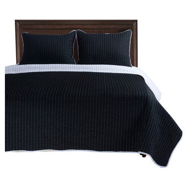 Harley Quilt Set - King/California King - White/Black - The Harley Quilt Set features a basic stitched striped pattern. This set is made of 100% cotton and includes (1) Quilt: 106x92 and (2) Pillowshams: 20x36 each.