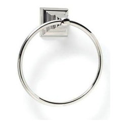 Amerock - Markham Towel Ring Polished Nickel Finish - Includes mounting template and mounting hardware. 1 x M5 x 0.8 9 mm Phillips head, 2 x nylon cap for towel ring, 1 x M4 x 0.7 10 mm set screw and 1 wall mounting plate. Heavy-gauge stainless steel construction. 1-Year warranty. 6.81 in. L x 8 in. W x 3 in. H (1.1 lbs.)Traditional design aesthetics punctuate the Markham™ collection which provides crisp, linear definition to the bath or powder room. Square footing at the base is inspired by the architectural details of columns, pilasters and stately slim bars. Complements a variety of Amerock® cabinet hardware, suggested coordination to the Amerock® Manor collections.