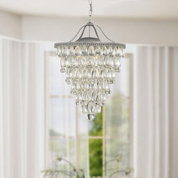 None - Cone Shape 4-light Matte Silver Crystal Chandelier - Add an upscale look to any room with this elegant crystal chandelier that features a classic cone shape and a metal base. This light fixture holds four lights,and the illumination is scattered by the crystals to produce a pretty,magical effect.