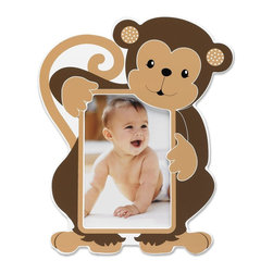 Lawrence Frames - Nursery Collection - Monkey 4x6 - Adorable monkey picture frame. Cute animal themed picture frame is the perfect compliment to any nursery or makes the perfect gift. High quality black wood backing with easel for table top display. Individually boxed.