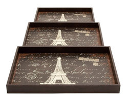 Benzara - Wood Trays with A Persian Touch - Set of 3 - Elevate the grandiose of your home with the Persian touch of this elegantly crafted wood tray. The tray base is decorated with an elaborate motif of the Eifel Tower in a radiant white color that lends a captivating look to the design. It is available in three different sizes and makes for a perfect replacement for kitchen trays to serve dips and finger-food during casual gatherings. It can be used to decorate different tables for a refined touch to minimalistic room settings. The dark wood finish is an attention grabbing element of this tray set.