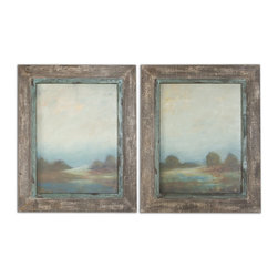 Uttermost - Morning Vistas Framed Art, Set of 2 - If you would love to have original art on your walls but the price has been keeping your wallet in your pocket, take a look at this set of oils. The finish has been hand applied so you can see the brushstrokes. The reclaimed wood frames look like they're two hundred years old. Time to bring out the wallet!