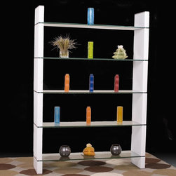 "Diamond Sofa - 80 Inch Glass Bookcase or Room Divider - ""80 Inch Glass Bookcase or Room Divider"