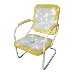 4D Concepts - 4D Concepts Metal Chair Retro in Yellow & White Metal - This retro outdoor chair is great for all of your outdoor needs.  The seats and backrests are trimmed in a vibrant shade of vintage yellow to give this set a little fun.  The decorative cutout design makes this chair a very stylish and sophisticated look.  The metal arms with yellow metal capped armrest are a finishing touch to an outstanding chair.  The metal is finished in a rich powder coated paint making it great for that special patio or outdoor area. Clean with a dry non abrasive cloth.   Assembly required.