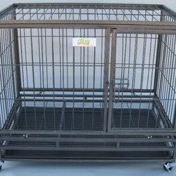 "Go Pet Club - Metal Dog Crate - Features: -Heavy duty steel wire for cage body and metal square tube as frame. -Easy assembly design, cage can be unfolded and folded in less than 5 minutes. -Easily foldable for storage, majority of the part already. -Pre-assemble together. -Removable plastic tray for easy cleaning. -Removable wheels, two of tem can be lockable. -Hammertone Finish. -Heavy duty metal square tube as frame. -Removable plastic tray for easy cleaning. -Removable wheels. -Color: Hammertone Finish. Specifications: -Medium dimensions: 32"" H x 24.5"" W x 37"" L. -Large dimensions: 38"" H x 30"" W x 43"" D."