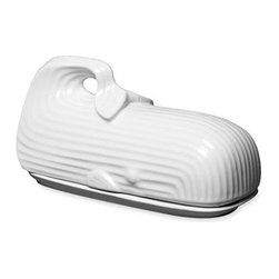 Jonathan Adler Whale Butter Dish - Lustrous white porcelain comprises a cleverly designed butter dish in the shape of a dapper shoe.Lustrous white porcelain comprises a cleverly designed butter dish in the shape of a sleek, textured whale. Color(s): whale. Brand: JONATHAN ADLER. Style Name: Jonathan Adler Whale Butter Dish. Style Number: 316614_1. Available In Stores.