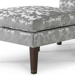 Allison Paladino for EJ Victor Ana Paolina Ottoman - I love the silver shimmery floral fabric on this square ottoman. You could either match it to your chair of have it be a standout piece if paired with a solid.