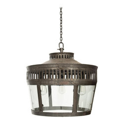 Lafayette Lantern - Grace the interiors of your home with this Lafayette lantern light that is best described as modern classic. Its artistically carved iron body is complemented by glass panels and antiqued iron finish to provide it a plush look.