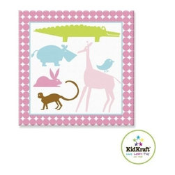 "KidKraft - Animal Girls Canvas 15""x15"", Wood Frame 2 by Kidkraft - Hardware for hanging is included. Wipe with Damp Cloth."