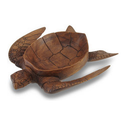 Zeckos - Hand Carved Mahogany Sea Turtle Medium Centerpiece Bowl - This beautiful sea turtle oval centerpiece bowl is an excellent gift for turtle lovers. Hand-crafted in Indonesia from mahogany wood, the turtle measures 12 1/4 inches long, 10 inches wide and 2.75 inches deep while the bowl itself is 8 inches by 5.75 inches by 1.75 inches deep. The wood is hand sanded and hand-rubbed with stain and oils to keep it looking great for a lifetime. The detail on the turtle's head and legs is stunning. It's great for fruit, natural fiber spheres and flower petals.