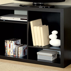Monarch Specialties - 38 in. TV Console - Thick hollow board side panels. Four asymmetrical shelves. Provide a sleek modern look. Open shelves offers space for books, decorative items or AV equipment. Accommodates up to 38 in. L TV.. Made from hollow core. Cappuccino finish. 38 in. W x 15 in. D x 27 in. H (48 lbs.)This bold contemporary TV console will add stylish storage solution to your living room, office, or hallway. This versatile piece that can be used upright as a bookshelf or on its side as a TV console.