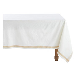 """Coyuchi - Simple Stitch Chambray Tablecloth 70""""x108"""" White w/Tangerine - Linen and cotton yarns, dyed slightly different hues before weaving, lend our tablecloth soft, nuanced color and wonderful drape. Stitched stripes run along each edge and cross at the corners."""