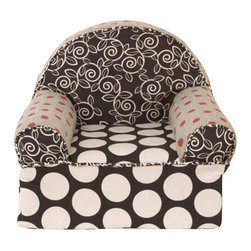 Cotton Tale Designs - Raspberry Dot Baby's 1st Chair - Raspberry Dot Baby's 1st Chair is a light weight foam chair covered in bright, fun fabrics. The chairs are coordinated to match crib bedding from the Cotton Tale line. These little chairs are great fun for baby and a special addition for the nursery, measuring 16 x 18 x 17. Cotton cover has a zipper and is machine washable in cold water, delicate cycle. Hang to dry. Perfect for your little girl.