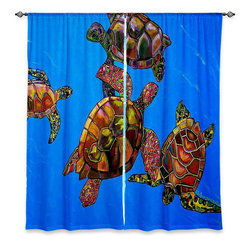 """DiaNoche Designs - Window Curtains Unlined - Patti Schermerhorn Sarrahs Sea Turtles - DiaNoche Designs works with artists from around the world to print their stunning works to many unique home decor items.  Purchasing window curtains just got easier and better! Create a designer look to any of your living spaces with our decorative and unique """"Unlined Window Curtains."""" Perfect for the living room, dining room or bedroom, these artistic curtains are an easy and inexpensive way to add color and style when decorating your home.  The art is printed to a polyester fabric that softly filters outside light and creates a privacy barrier.  Watch the art brighten in the sunlight!  Each package includes two easy-to-hang, 3 inch diameter pole-pocket curtain panels.  The width listed is the total measurement of the two panels.  Curtain rod sold separately. Easy care, machine wash cold, tumble dry low, iron low if needed.  Printed in the USA."""