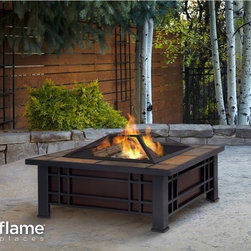 Real Flame Morrison Fire Pit - Nothing beats sitting around the fire with loved ones, and you can have years of that feeling with this Real Flame Morrison Fire Pit. This firepit comes with spark screen, log poker tool and vinyl protective storage cover that helps you push logs and sticks around without getting burned. Made of heat resistant powder coated steel frame and complemented with natural slate tile top, this piece is both attractive and durable.