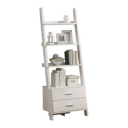 "Monarch Specialties - Monarch Specialties 2562 Ladder Bookcase with 2 Storage Drawers in White - Who can resist this 69"" high ladder bookcase? With two storage drawers this piece is both unique and practical. Its exquisite symmetry adds style to any room. This bookcase has ample room to display pictures, decorative pieces and even books. Showcase this solid-wood white finished ladder bookcase in you home today!"