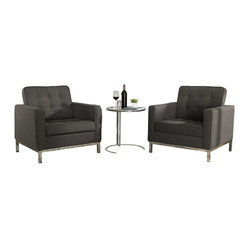 Florence Style Woolen Armchairs and Eileen Gray Side Table Set in Chocolate
