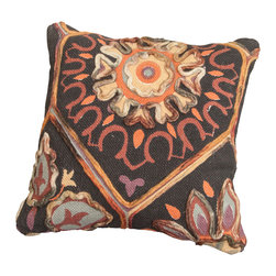Best Selling Home Decor - Cadence Cotton Embroidered Pillow - The cotton embroidered pattern of the Cadence delivers a classic pillow in a unique design. Perfect for spicing up any couch, bed, or even club chair. Set includes: One pillow; Includes Filler; Materials: Cotton Embroidery Printed; Color: Brown; Style: Modern; Dimensions: 4 inches high x 20 inches wide x 20 inches deep