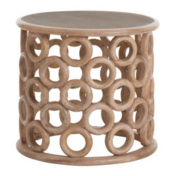Kathy Kuo Home - Kamai Hand Carved Wood Glass Topped Side Table - You'll never banish a side table to the shadows of your couch again. This fabulous accent table features carved mango wood circles, stacked to form an open, round base for a clear glass tabletop. You'll find yourself covertly nudging this showstopper into the center of the room with a toe when guests visit. Perfect for a contemporary home or urban loft.