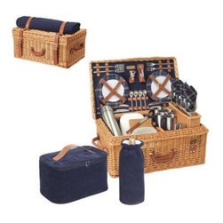 Windsor Basket, Service for Four, Navy Blue - This complete picnic set is ready to take you away. The navy tartan is begging for some scenery — I'm thinking stone walls and horses grazing in distant pastures.