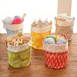 Fabric Bucket Storage, Large - Craft projects, kids' toys and library books are all things that can easily get strewn around and misplaced. Keep them together (and portable) with these multipurpose canvas totes.
