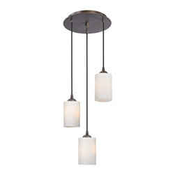 Design Classics Lighting - Modern Multi-Light Pendant Light with White Glass and 3-Lights - 583-220 GL1024C - Contemporary / modern neuvelle bronze 3-light mini-pendant light. Takes (3) 100-watt incandescent A19 bulb(s). Bulb(s) sold separately. UL listed. Dry location rated.