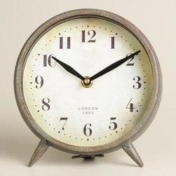 Small Dark Galvanized Metal Charlie Clock -