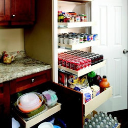 Pull Out Pantry Shelves - Store all of your canned foods and bottled beverages in your pantry and access them with ease with slide out shelves that fully extend from ShelfGenie of Indiana.  Each shelf holds up to 100 pounds, so don't worry about loading them up with your extra stock.  And with the ability to see the back as easily as the front, use the entire shelf without worrying about not being able to find things again!
