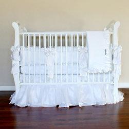 Snowflake White Silk Crib Linens - Snowflake Crib Linens by Olena Boyko