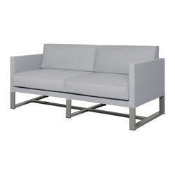 Mama Green - Mono Sofa, Grey, 2-Seater - The Mono collection by Mamagreen is new for 2014. With powder coated aluminum framing and Leisuretex cushions, this collection is built to last in the elements. Very suitable for both contract/hospitality and residential environments, Mono is available in a variety of powder coating colors as well as cushion colors. Leisuretex cushions can be replaced with Sunbrella cushions upon request at no additional charge. This line is fully customizable as well. Feel free to request deeper seating, taller cushion backrests, extend or shrink the dimensions of the framing. The possibilities are endless. Mono will be built to fit your space so that you don't have to fit your space to Mono.