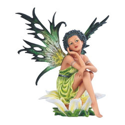 GSC - 10.5 Inch Green Fairy Sitting on Flower Figurine - This gorgeous 10.5 Inch Green Fairy Sitting on Flower Figurine has the finest details and highest quality you will find anywhere! 10.5 Inch Green Fairy Sitting on Flower Figurine is truly remarkable.