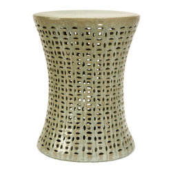 iMax - iMax Moers Cutwork Garden Stool X-26052 - Add a zen-like feeling to any outdoor garden or patio with this ornate garden stool with cutwork design. The intricate carvings and design have an organic tribal feel. Whether you choose to use this stool as a seat or a garden accessory, you will love the beauty it adds to your outdoor garden or patio.