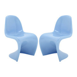 """Modway - Slither Dining Side Chair Set of 2 in Blue - Sleek and sturdy, rock back and forth in comfort with this injection molded marvel. Constructed from a single piece of strong ABS plastic, the """"s"""" shaped Slither chair can be found in many fashionable settings. Perfect for dining areas in need of a little zest, the design is versatile, fun and lively. Surprisingly cushy, choose from a selection of vibrant colors that won't fade over time. Slither is also perfect for spaces short on room. Set Includes: Two - Slither Dining Chair. Tough ABS Construction; Stackable up to 4 High; Ergonomically Designed; Set of Two Chairs; No Assembly Required; Seat Height: 18""""H; Overall Product Dimensions: 23""""L x 19""""W x 33""""H"""