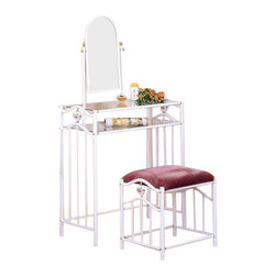 Coaster - 2-Piece Vanity Set (White) By Coaster - Create your very own cosmetic corner with this Vanity Table Set by Coaster. This stylish personal table features a swiveling mirror and two glass shelves to hold a variety of products and accessories. Its real charm comes from the gorgeous porcelain hearts fixed into the metal frames of the vanity and stool and decorated with delicate paintings of flowers. The stool is upholstered in velour fabric in a soft mauve color, and the metal frames of both table and stool are finished in white. Pamper yourself in style with this beautiful vanity table set by Coaster. Features: Glossy White finish Mauve velour fabric Flowers painted onto porcelain hearts Made of metal Four porcelain hearts - two in vanity, two in stool Swivel mirror Two tempered glass shelves Includes Vanity and Stool Some assembly required Specifications: Vanity Dimensions: 56 H x 14.5 D x 32.25 W Stool Dimensions: 17.5 H x 14 D x 20.25 W Shipping Weight: 40.7 lbs.